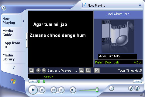 Lyrics in Win Media Player
